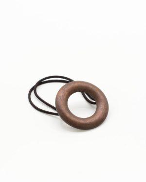élastique cheveux cercle bois marron