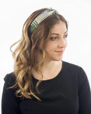 bandeau cheveux femme jungle gris vert