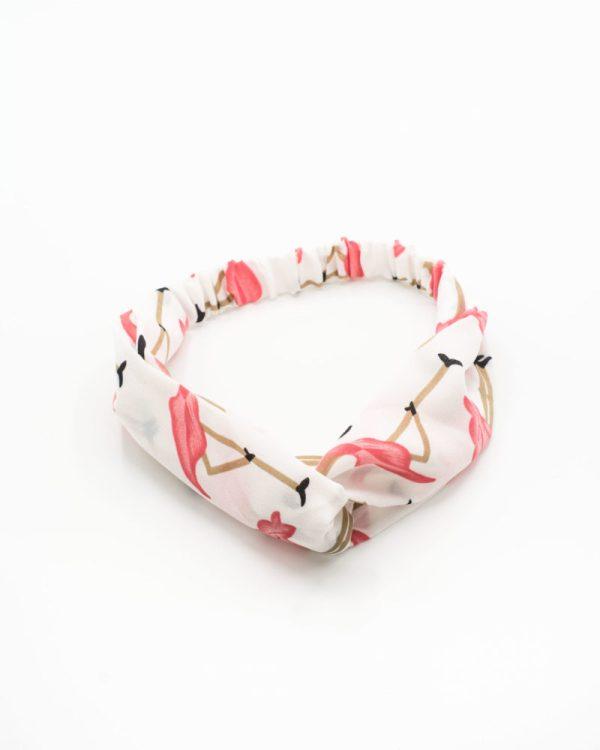 bandeaux blanc à motif flamand rose pour cheveux
