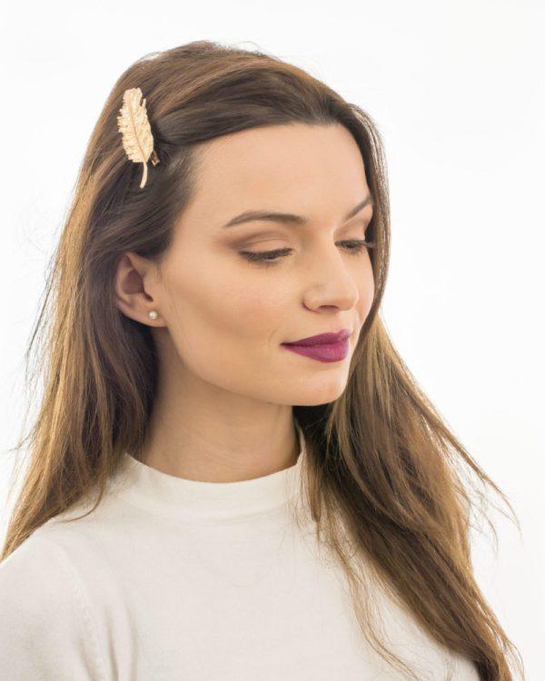 barrette cheveux plume dorée