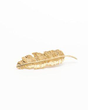 barrette plume dorée pour femme