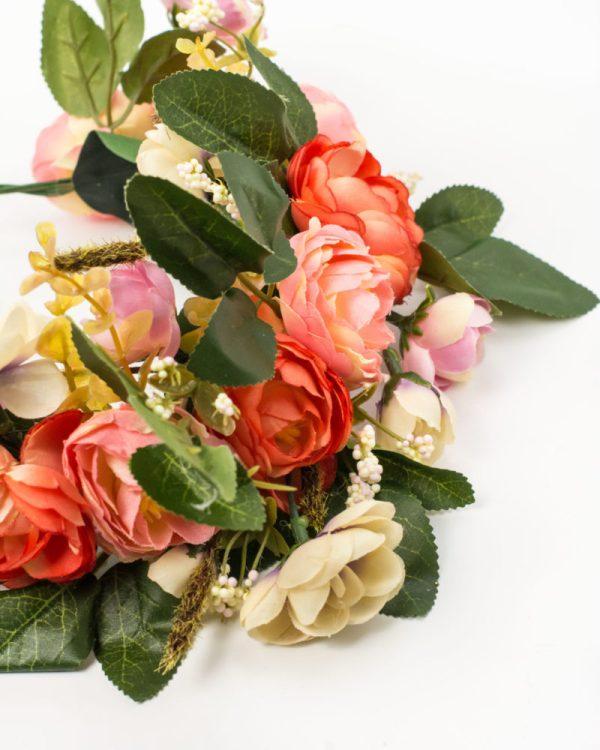 Couronne de fleurs cheveux orange rose zoom