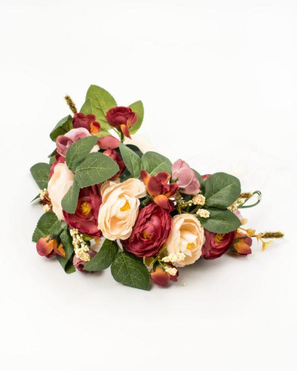 Couronne de fleurs roses rouges et roses pour mariage