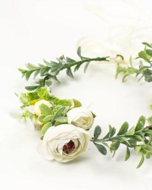 couronne fleurs blanches et ruban zoom