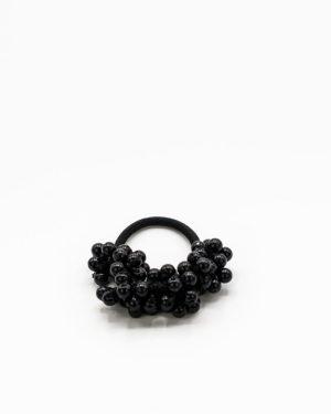 Elastique cheveux à perles noires