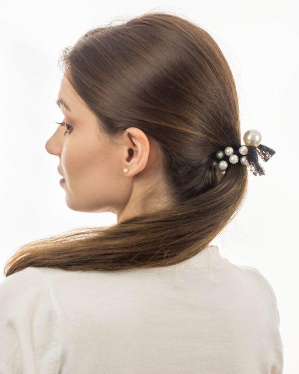 Elastique cheveux dentelle et perle nacrée