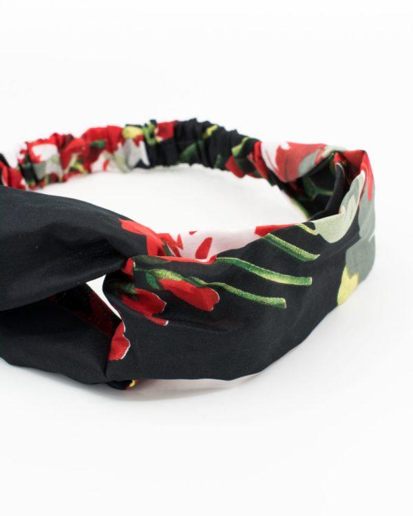 Headband noir à motif floral