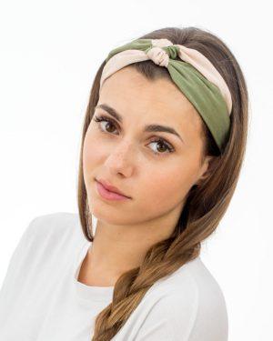 Bandeau cheveux femme double vert rose