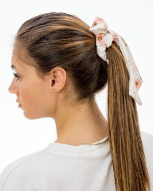 Chouchou foulard blanc à fleurs roses pour femme
