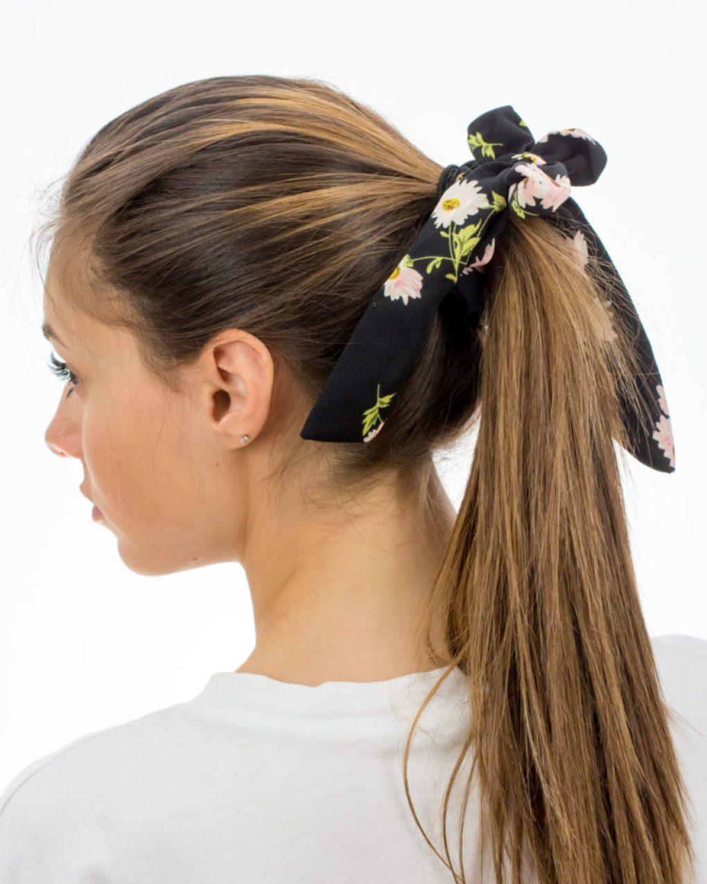 Chouchou foulard femme noir à fleurs
