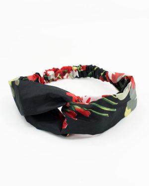 Headband femme noir à motif floral