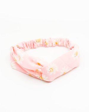 Headband rose à fleurs blanches