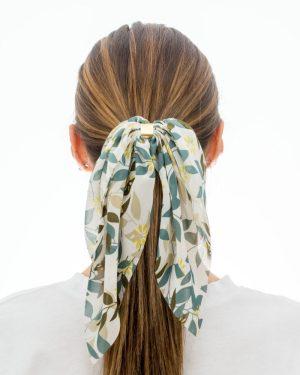 noeud pour cheveux vert