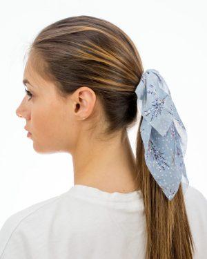 noeud pour cheveux XXL bleu à fleurs pour femme