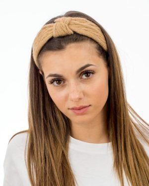 Serre tête femme en tricot couleur paille