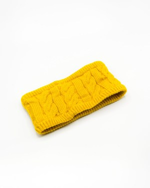 headband tricot jaune à doublure fourrure