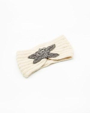 bandeau cheveux en laine crème avec fleur à strass