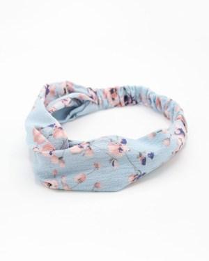 Bandeau cheveux femme bleu à fleurs roses
