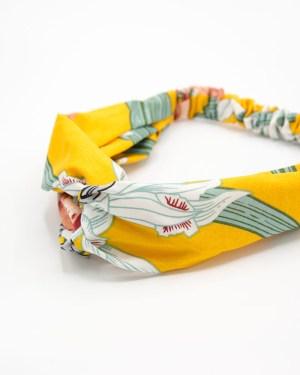 Bandeau cheveux jaune à motif végétal