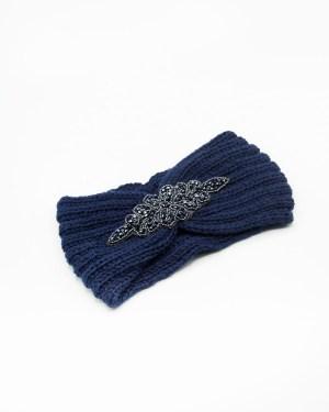 bandeau cheveux tricot bleu à strass