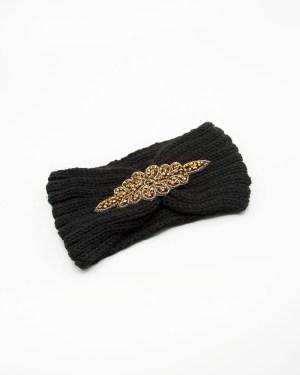 bandeau cheveux tricot noir à strass