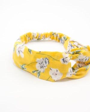 bandeau de tête jaune à fleurs blanches