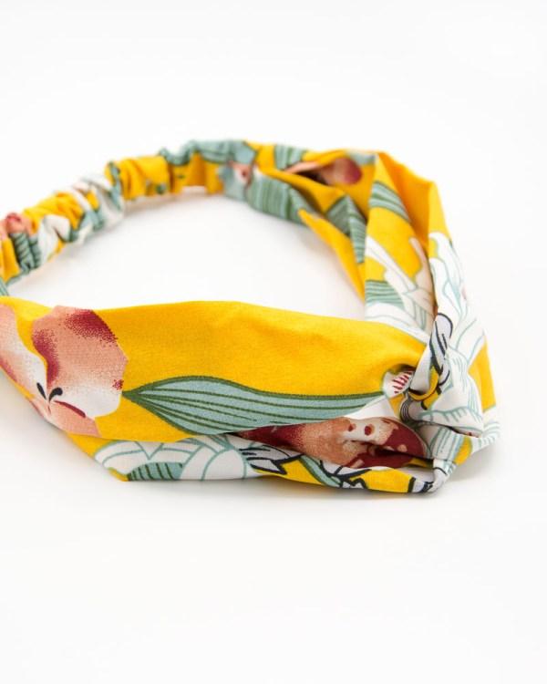 Bandeau de tête jaune à motif végétal