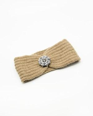 bandeau de tête tricot beige à fleur ronde en strass