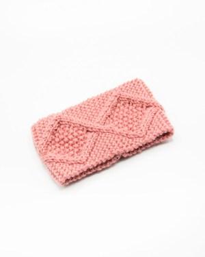 bandeau rose pour femme en tricot avec des losanges