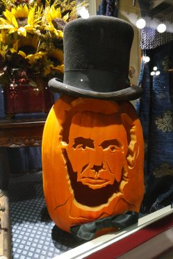 Abraham Lincoln pumpkin, complete with bow tie and top hat. | Photo credit: Krista