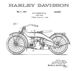 """Motor Cycle"" (Harley Davidson); Utility Pat. No. 1,510,937; Issued Oct. 7, 1924. Source: www.bing.com."