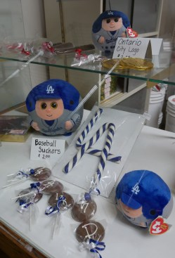 Special blue and white candy canes for LA Dodger fans. | Photo credit: Krista