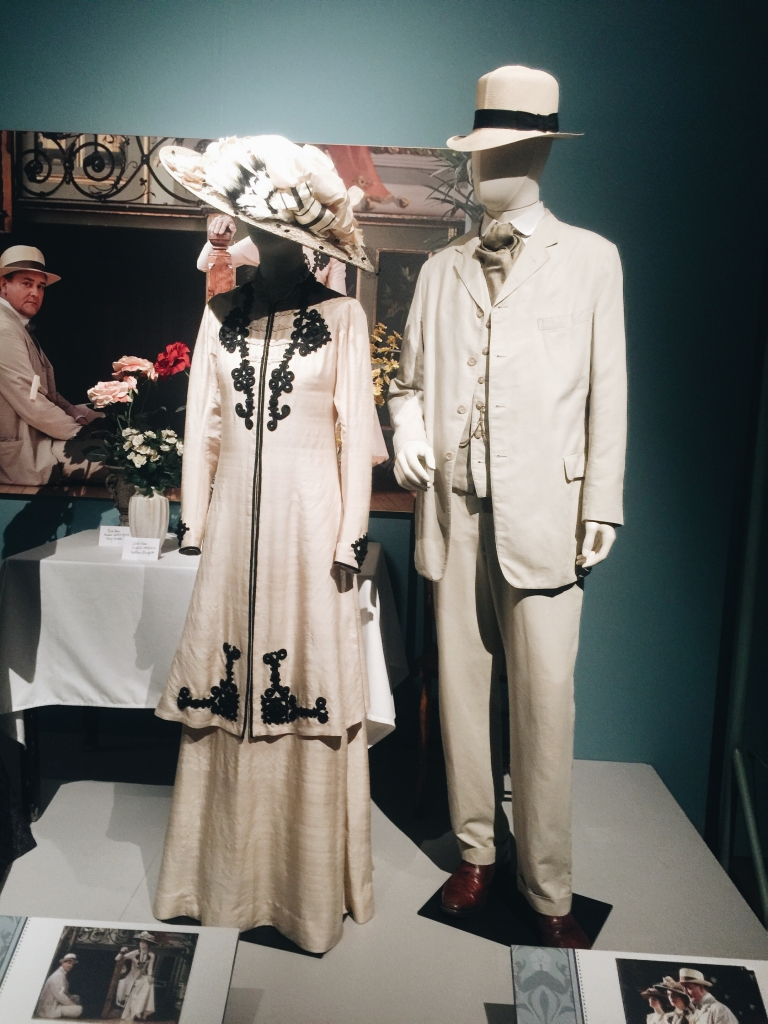 Gown and suit from Dressing Downton exhibit at Lady by Choice blog
