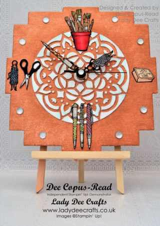 Clock made with Stampin' Up! Crafting Forever stamp set and Shimmery White Embossing Paste. Made for Pootler's Design Team – Week 4 – Created by Dee Copus-Read, Lady Dee Crafts