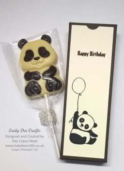 Cute party panda chocolate lolly Box using Stampin' Up! Party Panda Stamp Set, Early Espresso & Very Vanilla cardstock by Dee Copus Read, Lady Dee Crafts