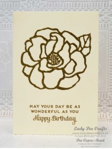 Gold heat embossed Birthday card using the beautiful flower in the Beautiful Day stamp set and very vanilla note cards by Stampin' Up! - Lady Dee Crafts.