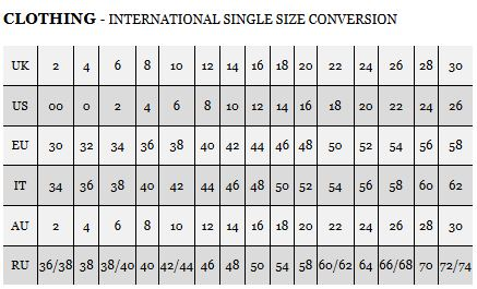 Maten tabel, Size table, Size Guide
