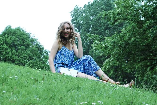 Green grass Blue dress