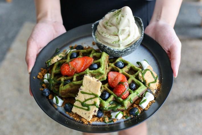 Kara Cafe & Dessert Bar Matcha Mochi Waffles
