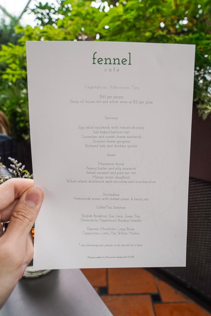Fennel Cafe afternoon tea menu