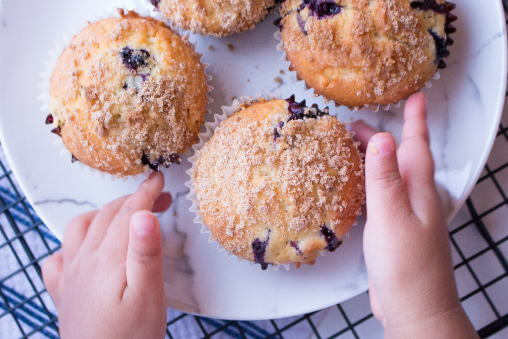 Baking With Kids | Easy Blueberry Muffins Recipe With Crumb Topping