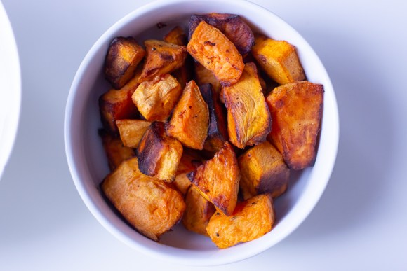 sweet potatoes for the Cajun shrimp Buddha bowl