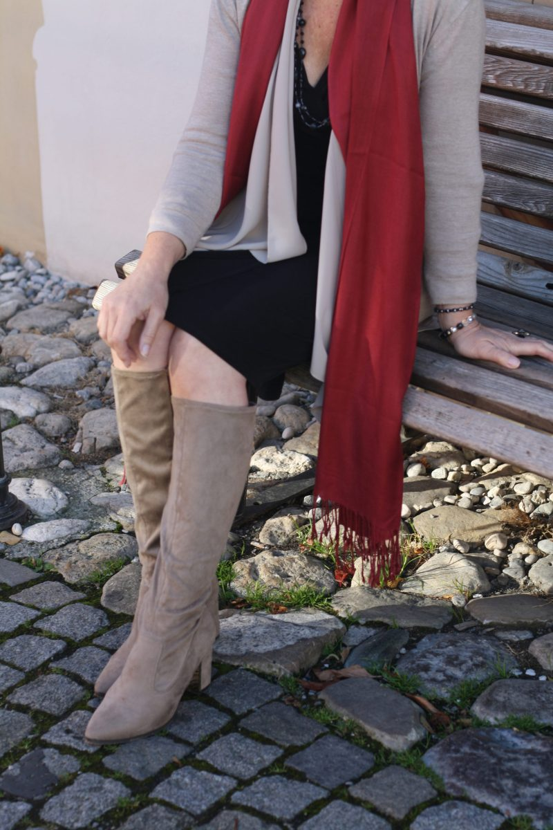 Black Dress Cardigan Suede Boots LadyofStyle