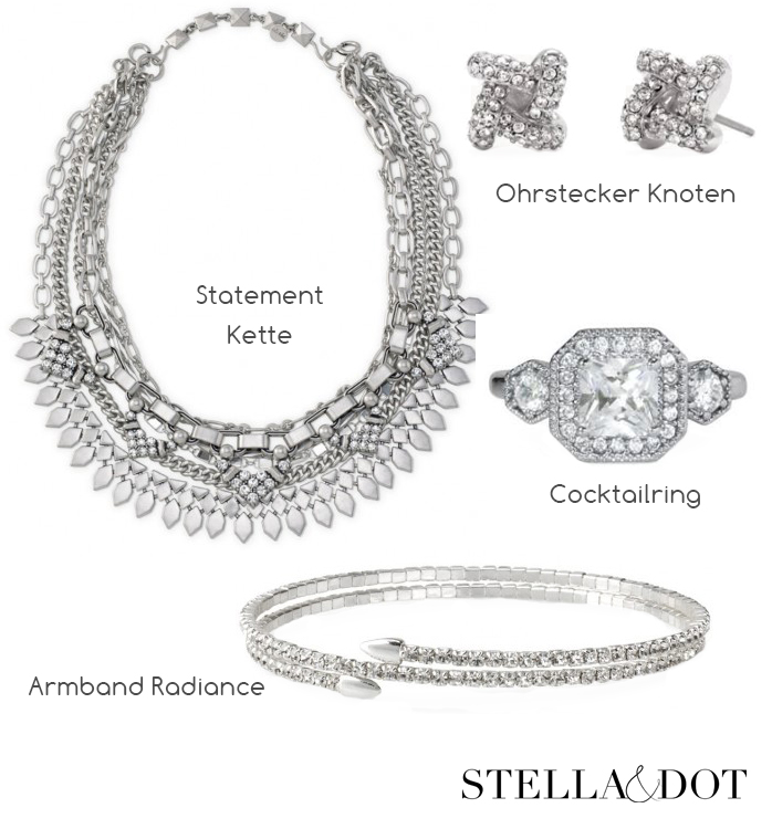 Weihnachten Silvester Party Satin Stella and Dot LadyofStyle Statement Schmuck Silber