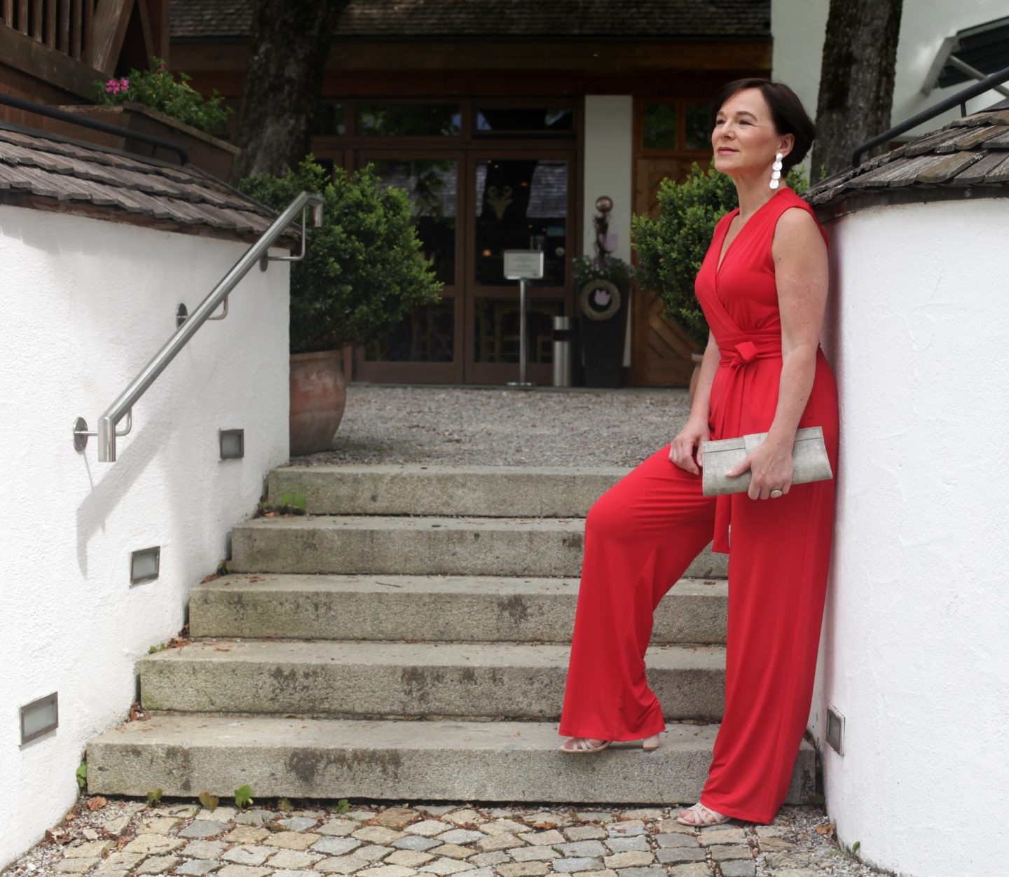 Roter Jumpsuit Overall Partylook Abendlook 50plus LadyofStyle