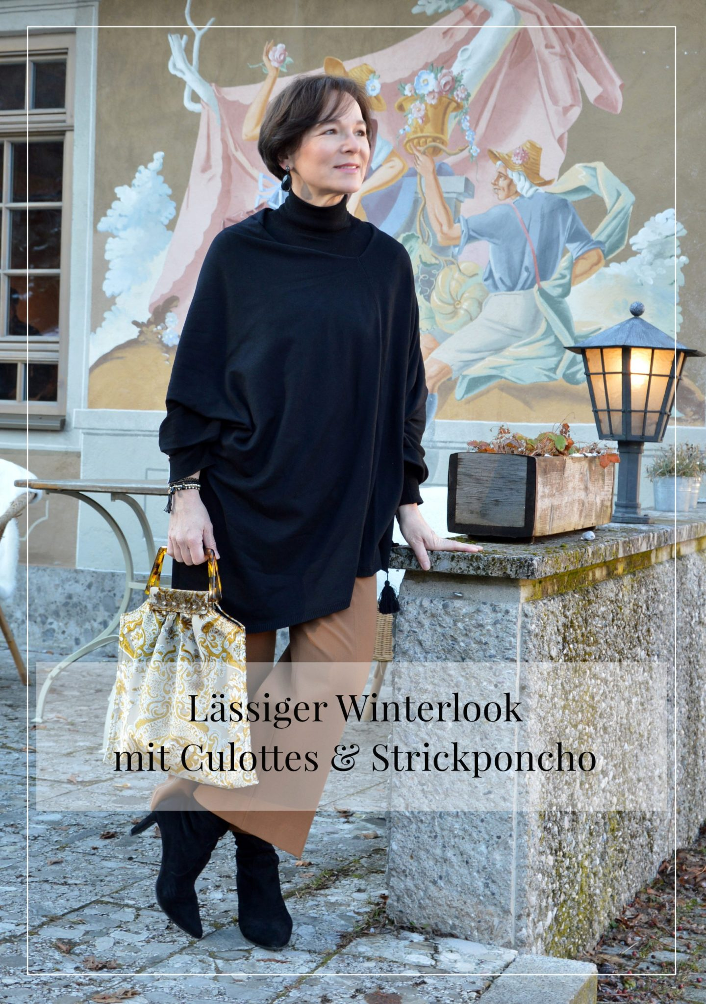 LadyofStyle Winterlook Culottes Strickponcho 50plus