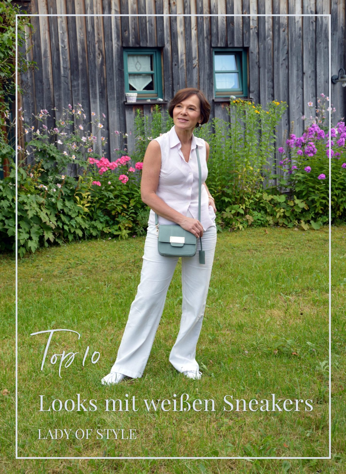 LadyofStyle Sommerlook Leinenhose Sneakers 50plus Blogger