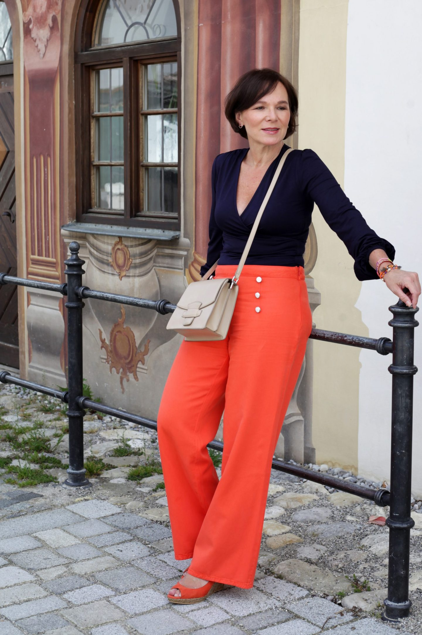 LadyofStyle Boden Sommerlook Sommermode Marlenehose Orange 50plus Blogger