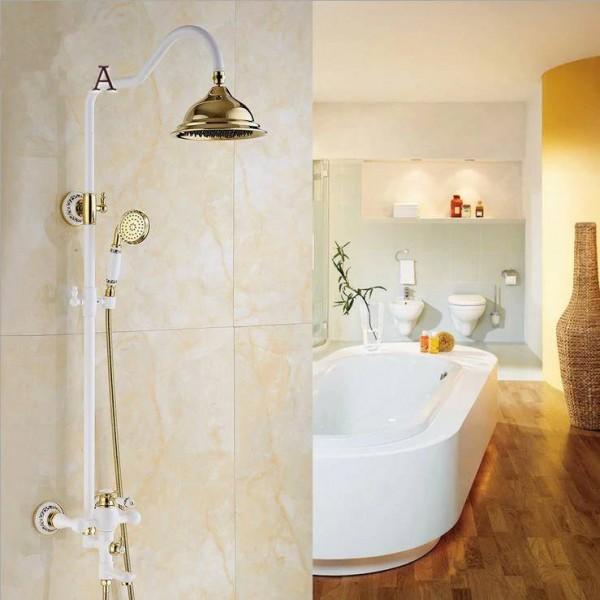 bathtub faucet brass golden white paint bathroom shower faucet wall mount round rainfall shower head handheld bath tap yls5870 e