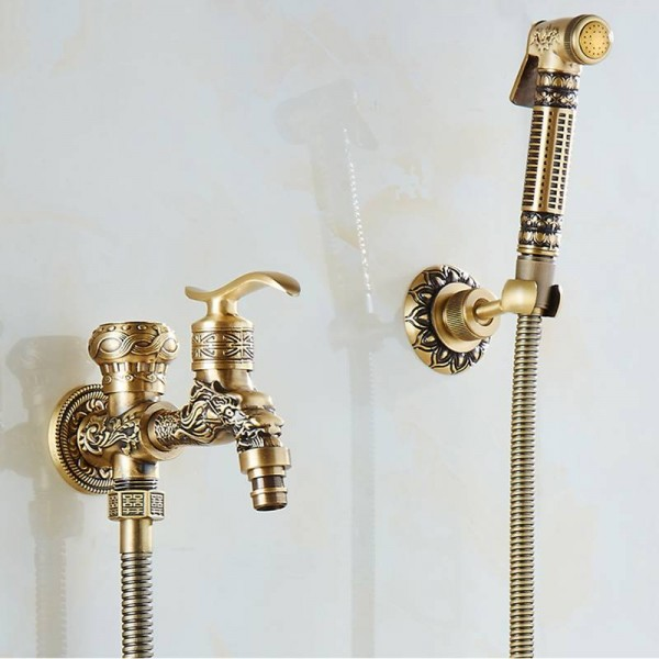 bidet faucets wall mounted bathroom hygienic shower sprayer antique brass water faucet airbrush toilet washing machine tap wf556
